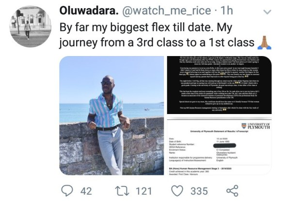 Nigerian man shares how he went from having a 3rd class from UI to a First class from a UK university