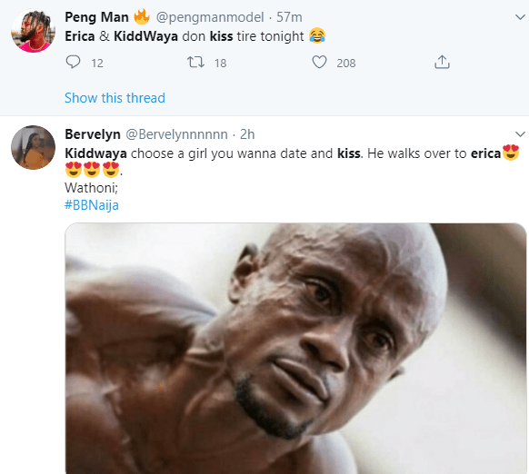 Hilarious Twitter reactions as Kiddwaya picks Erica as the girl he likes and kisses her for 30 seconds only days after he and Wathoni kissed