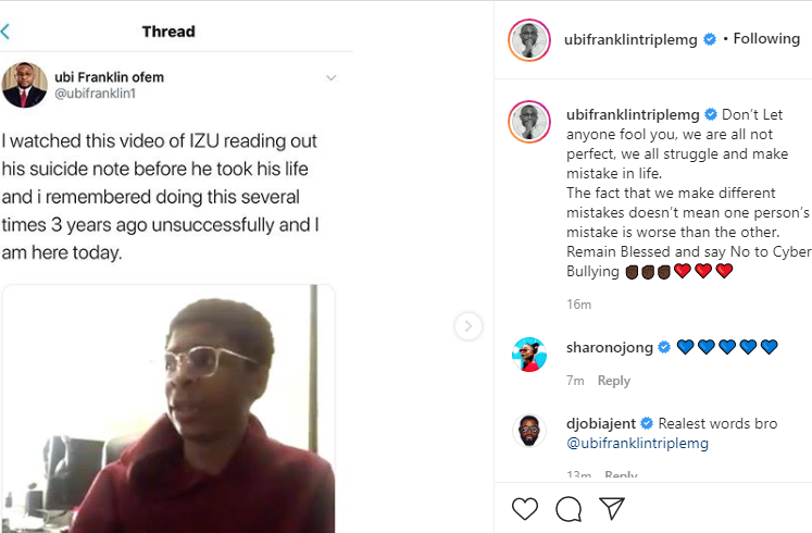 Ubi Franklin reveals he attempted suicide multiple times 3 years ago as he reacts to video of Izu reading his suicide note