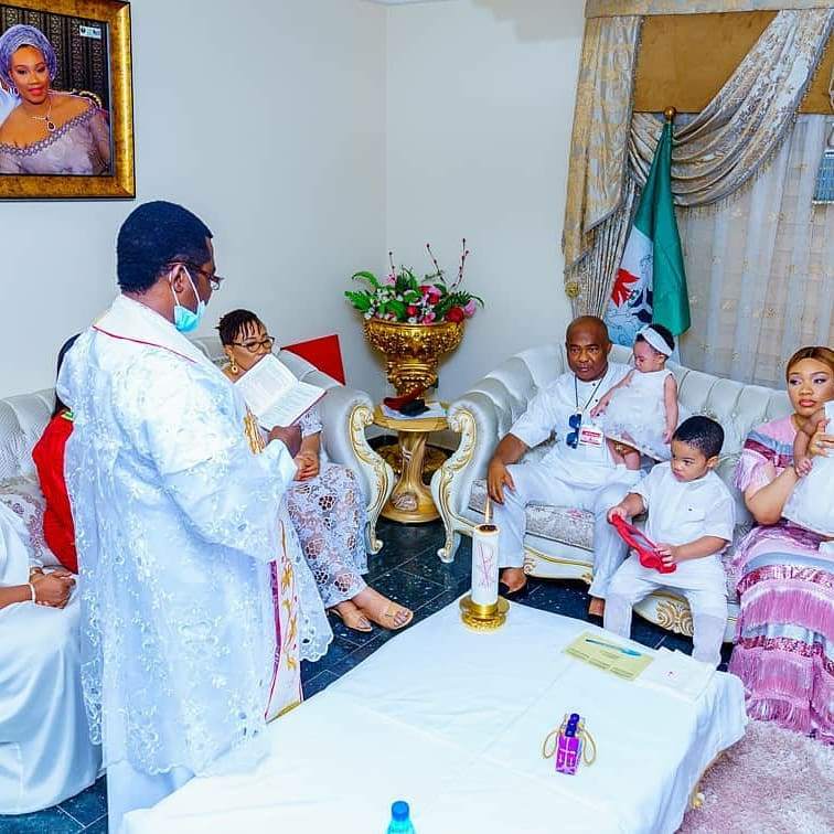 Photos from the infant baptism of Imo state governor, Hope Uzodinma