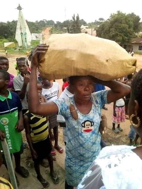 Lady paraded after being caught stealing cassava in a farm in Abia state (photos)