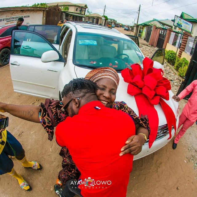 DJ Kaywise gifts his mum a car on her birthday (photos)