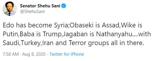 Edo has become Syria. Obaseki is Assad while Jagaban is Nathanyahu - Shehu Sani