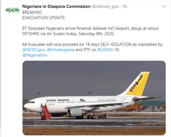 87 stranded Nigerians EVACUATED  FROM Sudan - https://bluebloodz.com/index.php/2020/08/09/87-stranded-nigerians-evacuated-from-sudan