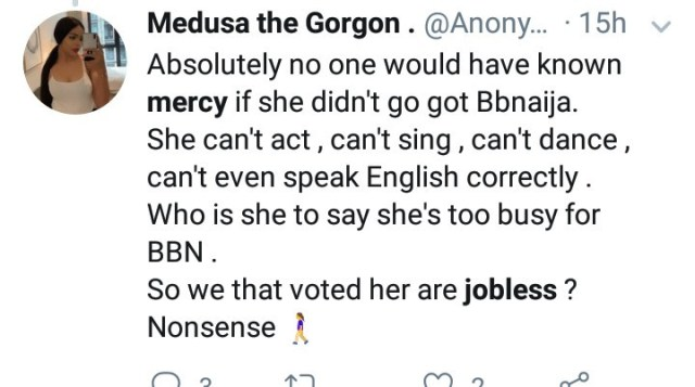 """So we that voted her are jobless?"" Nigerians react as BBNaija"