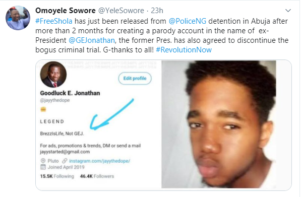 Student who created Goodluck Jonathan?s parody account, freed after 82 days in detention