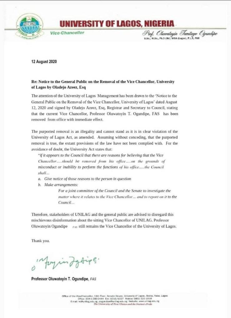 I remain UNILAG Vice Chancellor- Professor Toyin Ogundipe