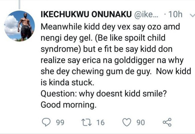 """I made a mistake by referring to Erica as a gold digger"" Ikechukwu apologizes after he was called out for his statement about BBNaija"