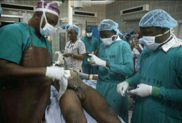 Nigerian man lands in hospital after a metal nut got stuck in his penis while he was masturbating with it (+18 photos)
