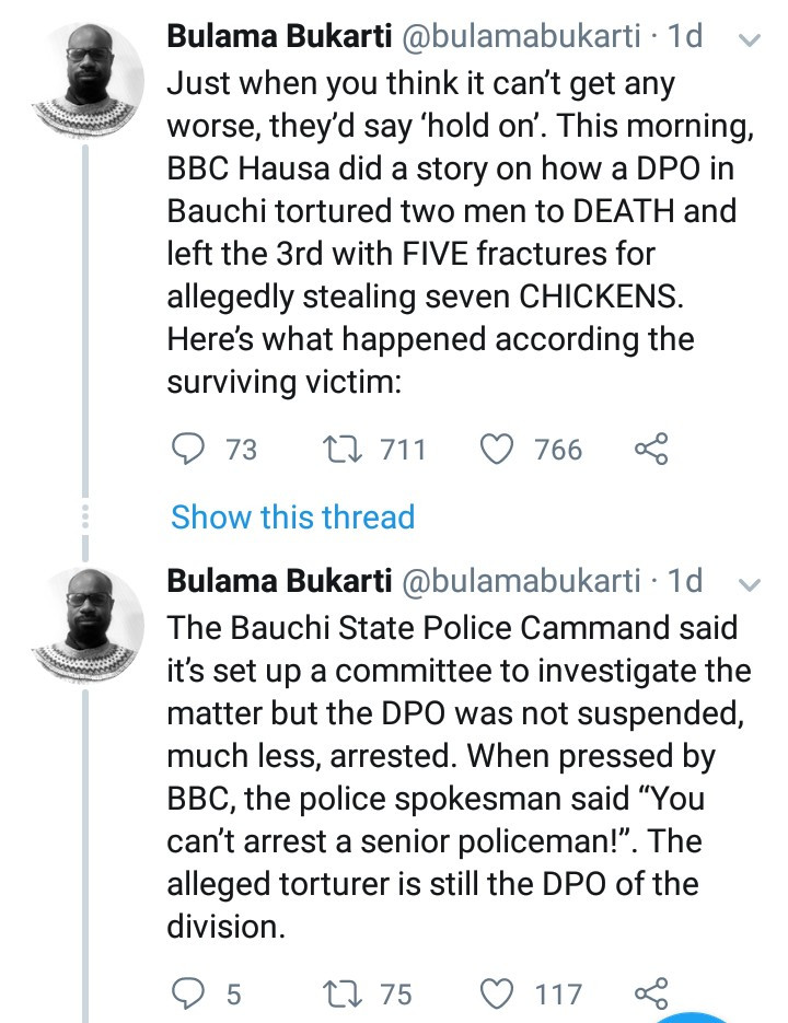 Bauchi DPO allegedly torture two men to death and leave another injured for allegedly stealing chickens