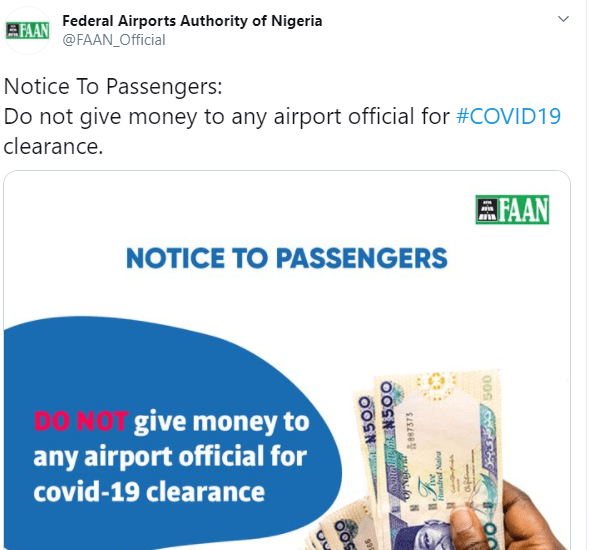 FAAN investigates allegations of Abuja airport officials collecting bribe from passengers on evacuation flights for COVID-19 clearance