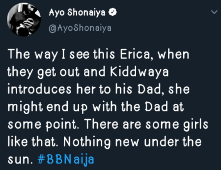 #BBNaija: Erica may end up with Kiddwaya