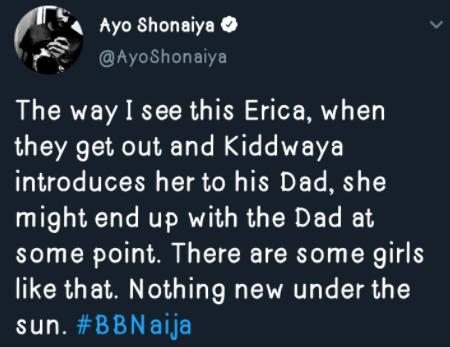 #BBNaija: Erica may end up with Kiddwaya