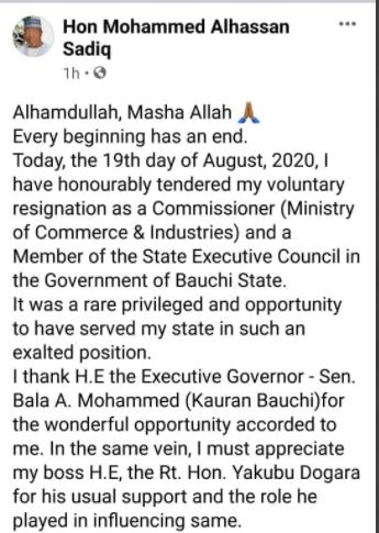 Bauchi commisioner, Mohammed Sadiq resigns