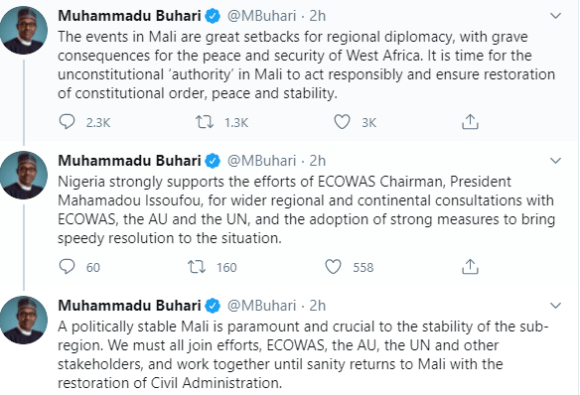 President Buhari reacts to Coup d