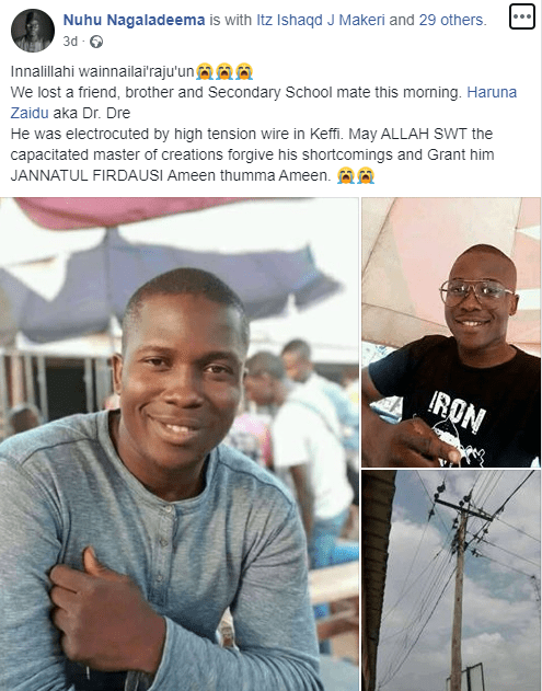 Final year student of Nasarawa state University dies while attempting to rescue a man who was being electrocuted