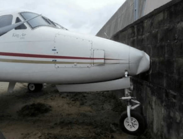 Jet rams into fence at Lagos airport after brake failure (photos)