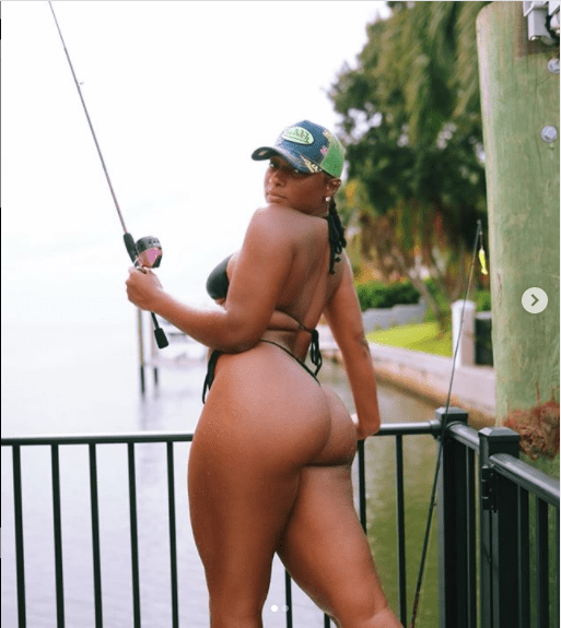 Rapper, Megan Thee Stallion goes fishing in a tiny string bikini (Photos)