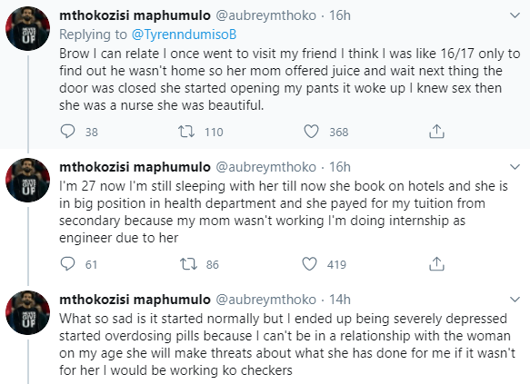 South African men recount how they were raped by older ladies