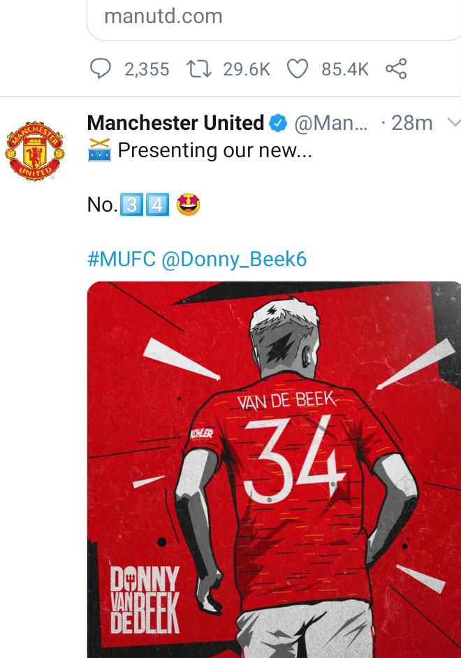 Official: Man Utd sign Ajax midfielder Donny van de Beek for ?35m