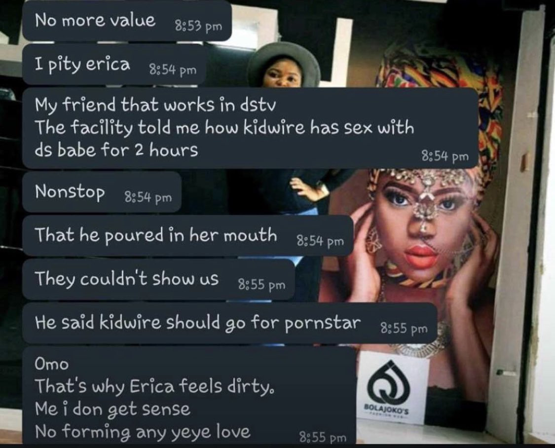#BBNaija: Reactions after Samklef shares screenshots of chat claiming an alleged in-house Multichoice worker said Erica ingested Kiddwaya