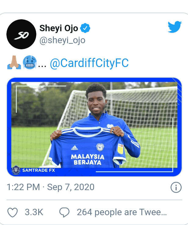 Cardiff City sign Nigerian and Liverpool winger, Sheyi Ojo