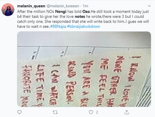See the three love notes Ozo wrote to Nengi that has Nigerians talking