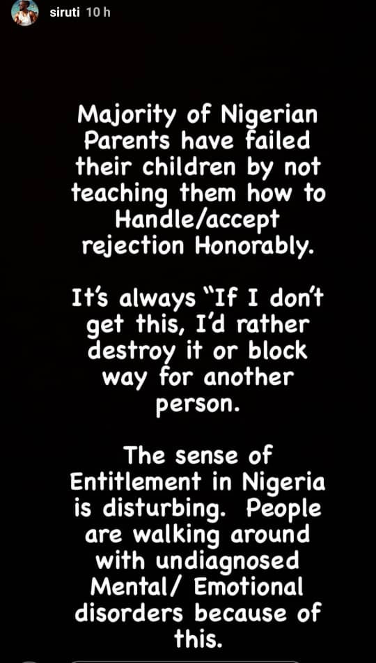 Nigerian parents have failed their children by not teaching them how to handle rejection- Uti Nwachukwu