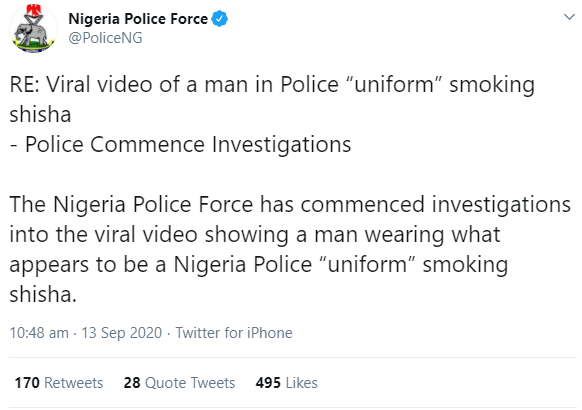 Nigerian police reacts after a man in a police uniform was filmed smoking shisha in public