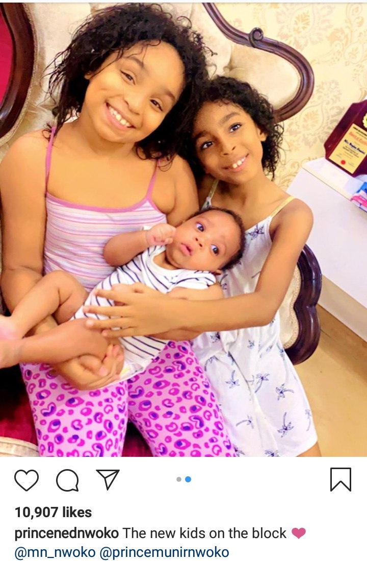 """""""The new kids on the block"""" Ned Nwoko says as he shows off his youngest children"""