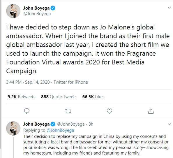 I don?t have time for nonsense - John Boyega ends ambassadorial deal with Jo Malone after being cut out of an advert for the Chinese market