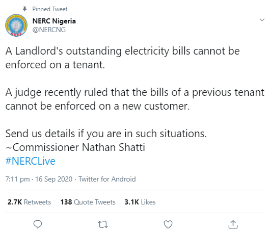 Judge rules that a landlord?s outstanding electricity bill or that of previous tenant can?t be enforced on a new tenant; Abuja Electricity Distribution reacts
