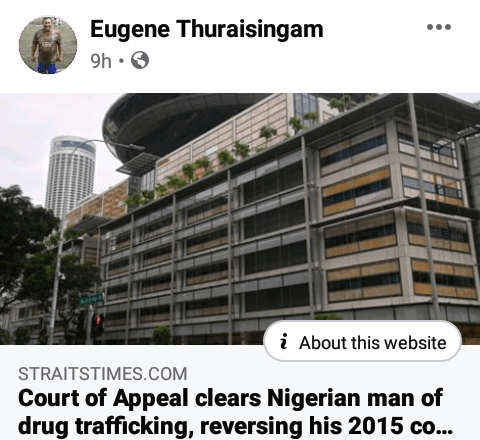 Nigerian man escapes death penalty as Singapore