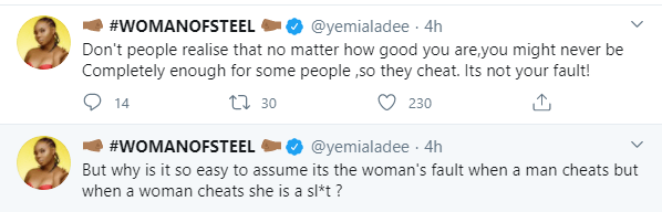 No matter how good you are you will never be enough for some people - Yemi Alade slams those who blame the woman when a man cheats