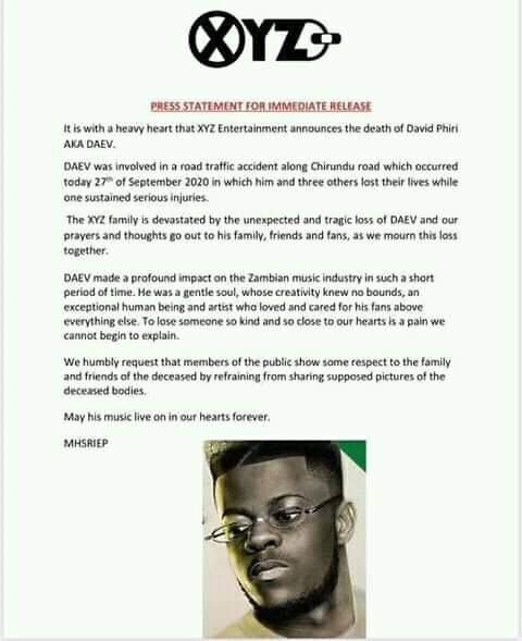 Zambian music star, Daev Zambia dies in fatal road accident alongside colleague and three female friends