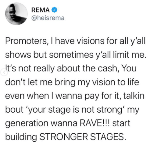 Burna Boy returns to Twitter to show support for Rema as he continues to pour his heart out on Twitter