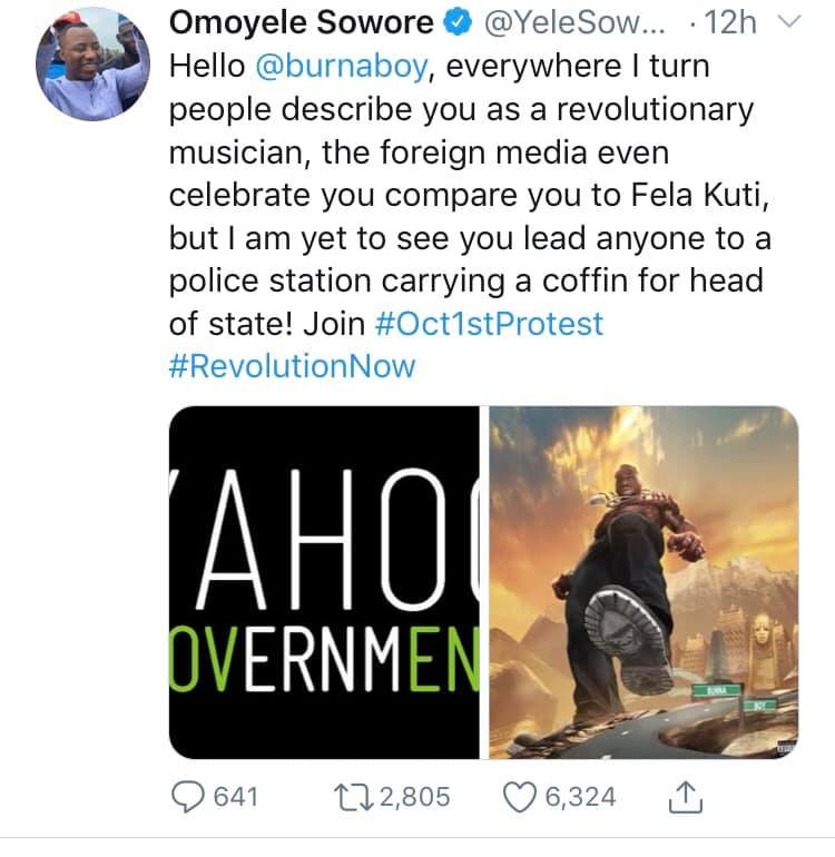 I am not Fela, leave me out of your schemes - Burna Boy fires back at Omoyele Sowore after being invited to #RevolutionNow protest