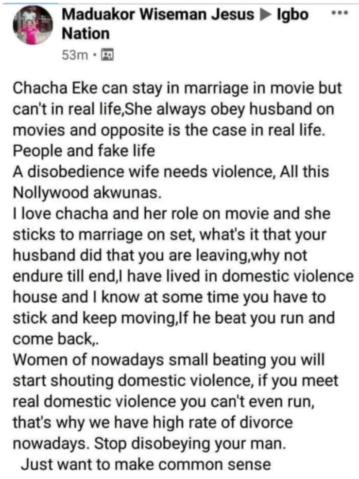 """A disobedient wife needs violence"""" - Father of two slams actress Chacha Eke for ending her marriage"""