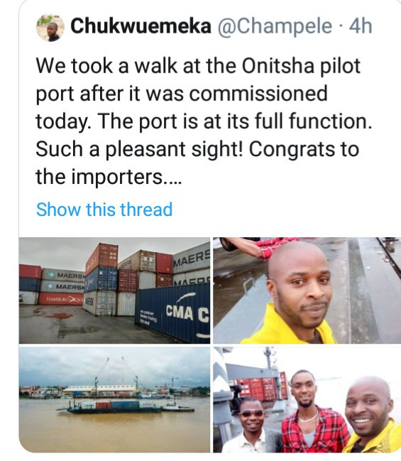 Nigerians rejoice as Onitsha sea port becomes functional after decades (photos/video)