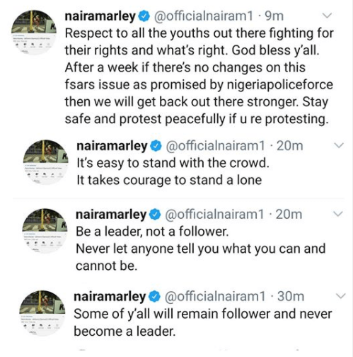 If there are no changes on this FSARS issue within one week, we will get back out there stronger- Naira Maley tweets as Falz and Runtown lead protest