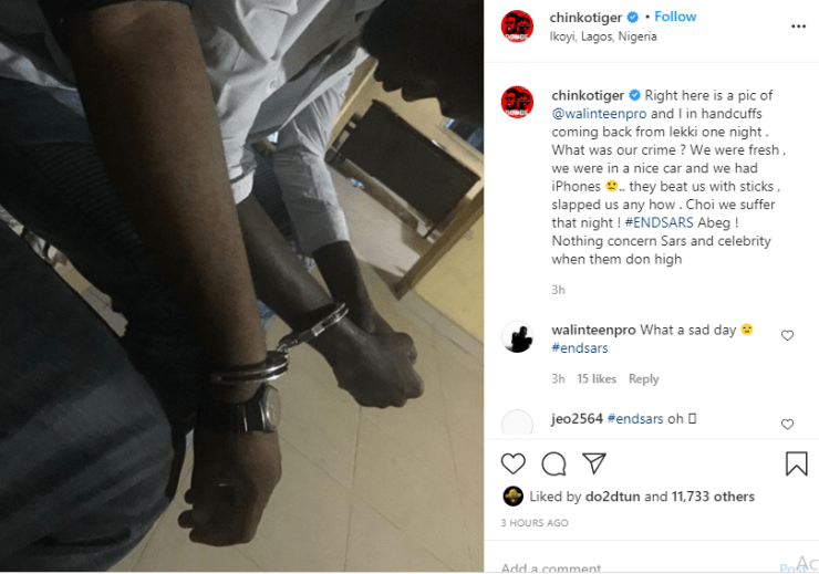 Rapper Chinko Ekun recounts how he and his friend were allegedly arrested by SARS operatives for being