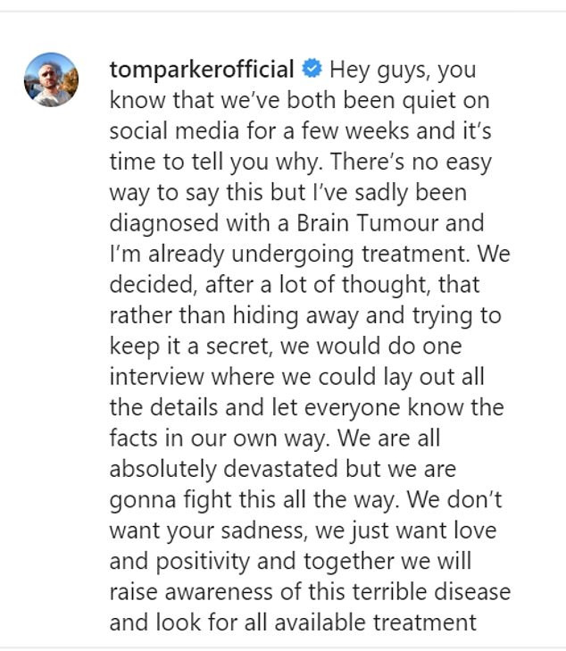 Singer, Tom Parker of The Wanted band diagnosed with a terminal and inoperable brain tumour at 32?