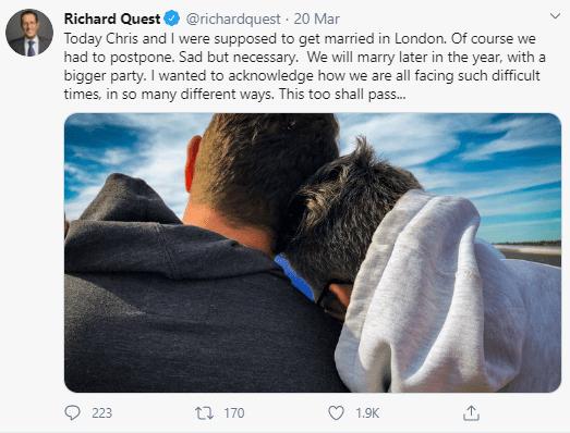 Le journaliste de CNN Richard Quest épouse son partenaire masculin de longue date