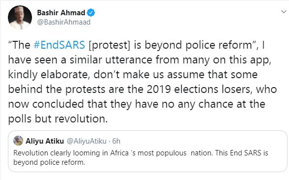 Don?t make us assume that those behind #EndSARS protests are 2019 elections losers - Bashir Ahmad warns Atiku Abubakar