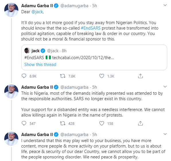 Former Presidential aspirant, Adamu Garba threatens to sue Twitter CEO Jack Dorsey for supporting #EndSARS protest