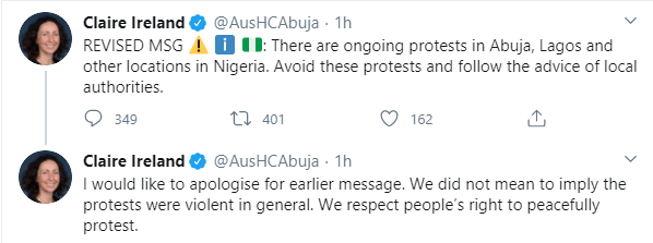 Australian High Commissioner, Claire Ireland apologizes over comment about #EndSARS protest