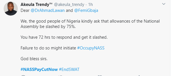 #NASSPayCutNow trends as Nigerians demand a slash in lawmakers salaries
