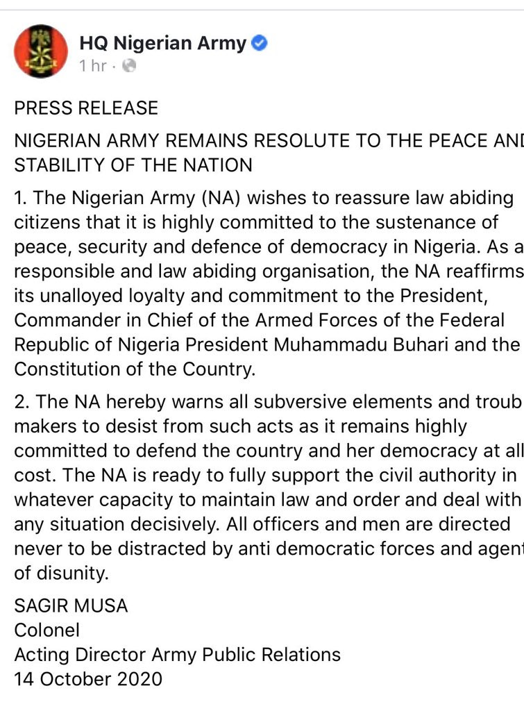 #EndSARS protest: We?re ready to defend Nigeria at all cost - Nigerian army says after being called out for allegedly assaulting journalists