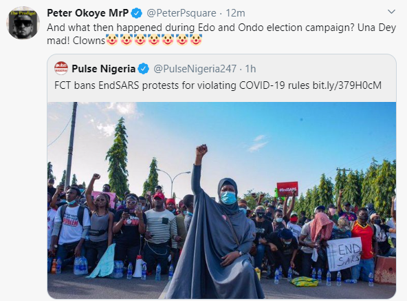 What then happened during Edo and Ondo election campaign - Peter Okoye 'Mr P' reacts to ban on #EndSARS protest in FCT lindaikejisblog