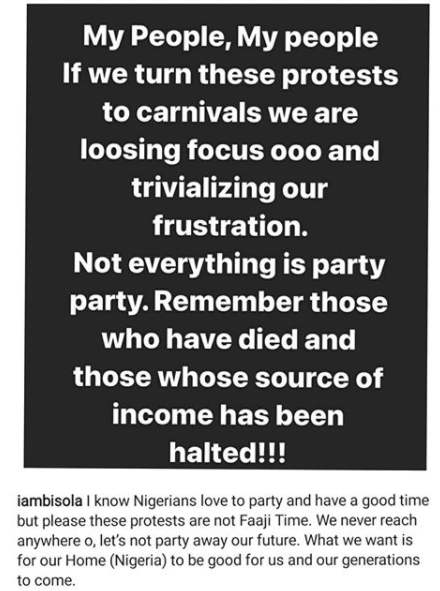 #EndSARS: We are loosing focus and trivializing our frustration if we turn these protests to carnivals - Actress Bisola warns